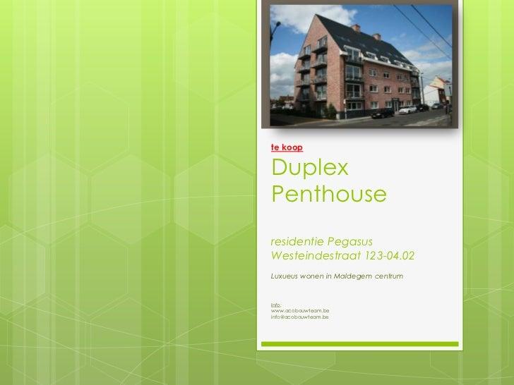 te koopDuplex Penthouseresidentie PegasusWesteindestraat 123-04.02<br />Luxueus wonen in Maldegem centrum<br />Info: <br /...