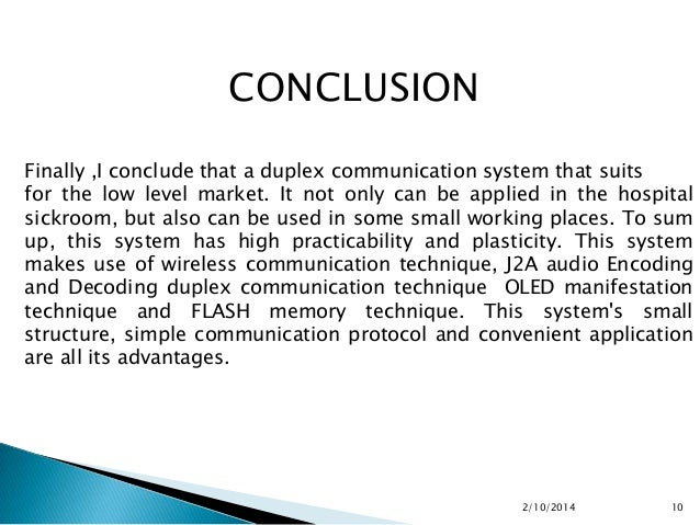 conclusion of communication system