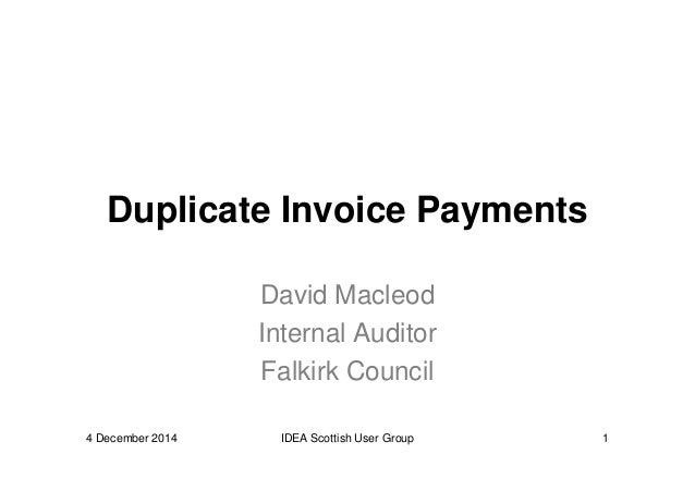 IDEA to Detect Duplicate Invoice Payments