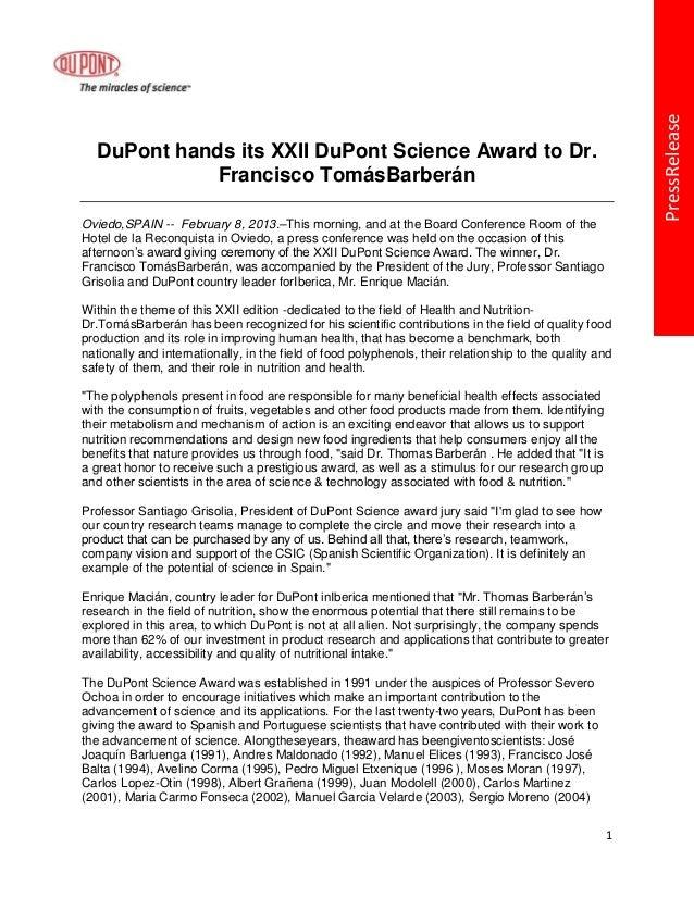PressRelease  DuPont hands its XXII DuPont Science Award to Dr.             Francisco TomásBarberánOviedo,SPAIN -- Februar...