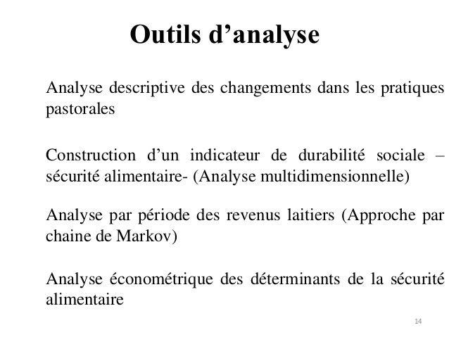 Outils d'analyse 14 Analyse descriptive des changements dans les pratiques pastorales Construction d'un indicateur de dura...
