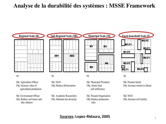 Analyse de la durabilité des systèmes : MSSE Framework 7Sources: Lopez-Ridaura, 2005
