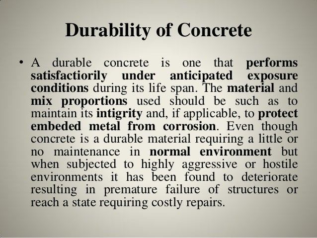 Durability and Permeability of Concrete6. Durability of Concrete ...