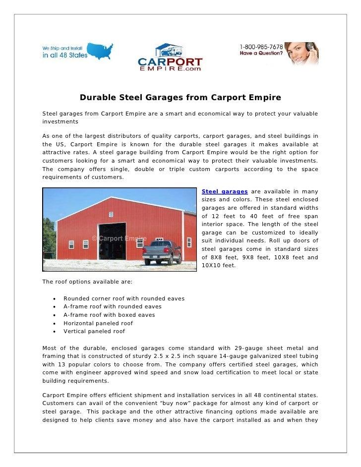 Durable steel garages from carport empire