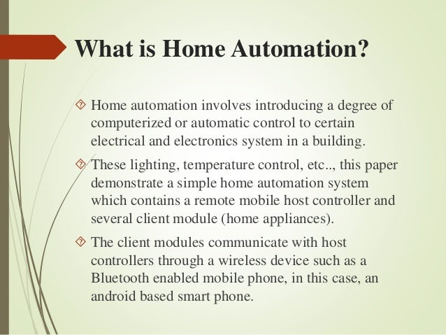 Android smartphone based home automation project