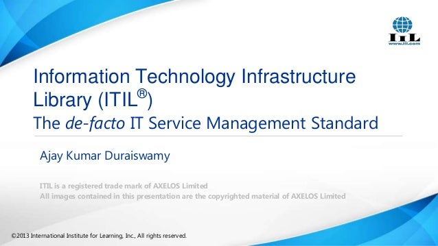 Information Technology Infrastructure Library (ITIL®)  The de-facto IT Service Management Standard Ajay Kumar Duraiswamy I...
