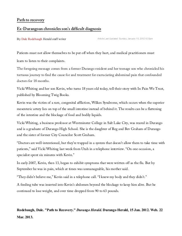 Path to recoveryEx-Durangoan chronicles son's difficult diagnosisBy Dale Rodebaugh Herald staff writer                    ...