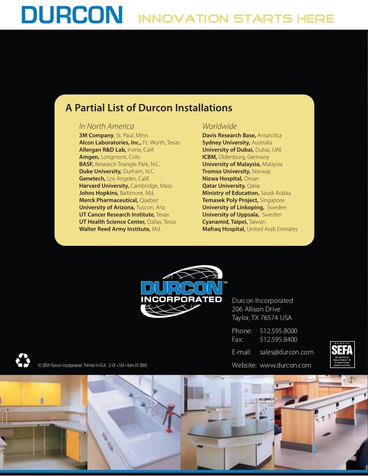 Durcon Laboratory Tops Catalog (2009)