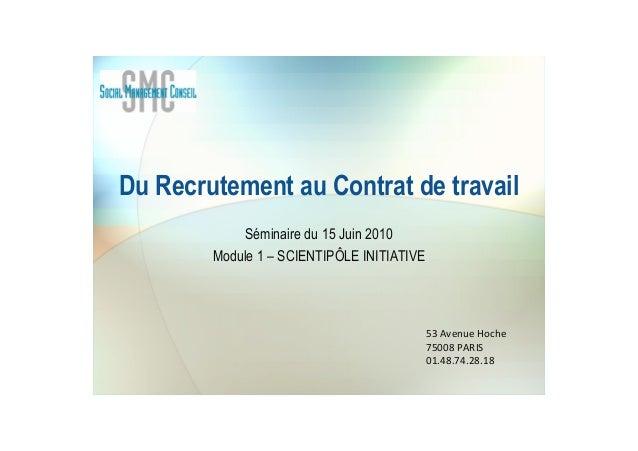 Du Recrutement au Contrat de travail Séminaire du 15 Juin 2010 Module 1 – SCIENTIPÔLE INITIATIVE 53 Avenue Hoche 75008 PAR...