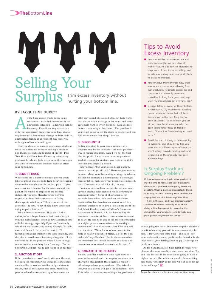 Selling Your Surplus (Dance Retailer News)