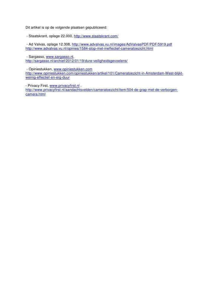 Dit artikel is op de volgende plaatsen gepubliceerd:- Staatskrant, oplage 22.000, http://www.staatskrant.com/- Ad Valvas, ...