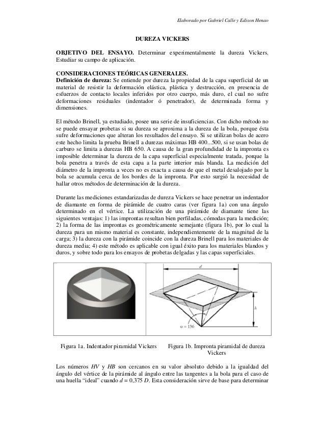 Elaborado por Gabriel Calle y Edison HenaoDUREZA VICKERSOBJETIVO DEL ENSAYO. Determinar experimentalmente la dureza Vicker...