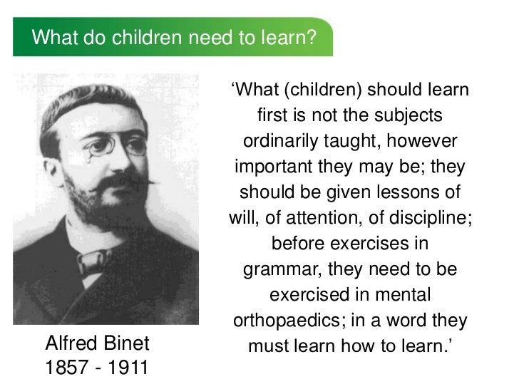 What do children need to learn?                     'What (children) should learn                         first is not the...