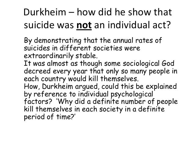 an analysis of two forms of suicide The four different types of suicide defined in the text are egoistic, fatalistic, anomic, and altruistic egoistic suicide people who would be most likely to commit this type of suicide feel.
