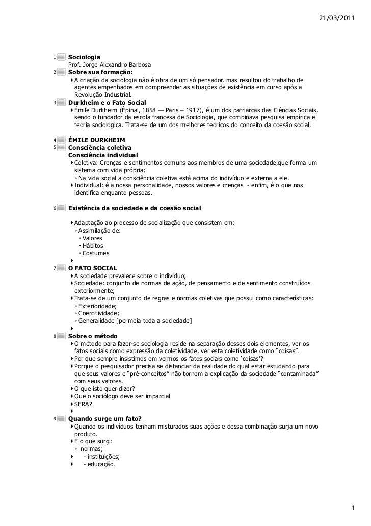 21/03/20111   Sociologia    Prof. Jorge Alexandro Barbosa2   Sobre sua formação:      A criação da sociologia não é obra d...
