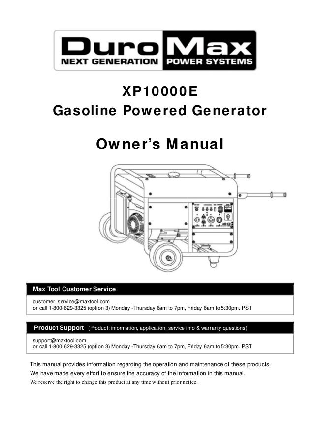 Xp10000e Gasoline Powered Generator Owner's Manual Max Tool Customer Service Customerservicemaxtool Product: Duromax Generator Wiring Diagram At Aslink.org