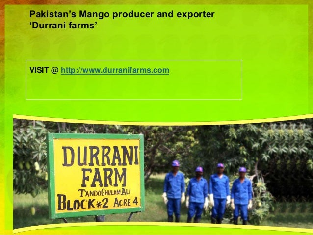 Pakistan's Mango producer and exporter 'Durrani farms' VISIT @ http://www.durranifarms.com