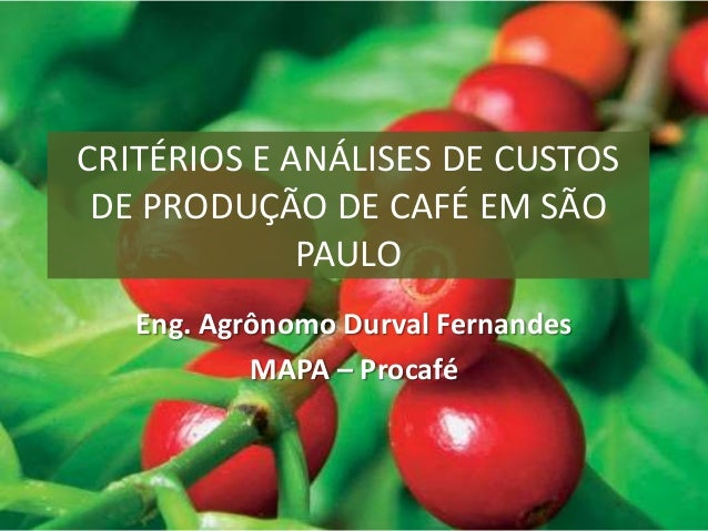 CRITÉRIOS E ANÁLISES DE CUSTOS DE PRODUÇÃO DE CAFÉ EM SÃO PAULO Eng. Agrônomo Durval Fernandes MAPA – Procafé