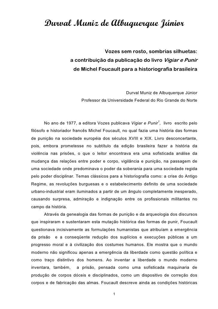 Durval Muniz de Albuquerque Júnior                                       Vozes sem rosto, sombrias silhuetas:             ...