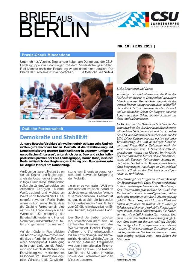 Östliche Partnerschaft NR. 10| 22.05.2015 | Liebe Leserinnen und Leser, seit einiger Zeit wird intensiv über die Rolle der...