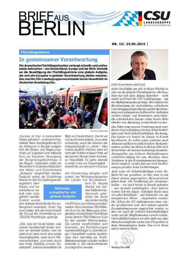 Flüchtlingsströme NR. 15| 25.09.2015 | Liebe Leserinnen und Leser, nichts beschäftigt uns alle in diesen Wochen so sehr wi...