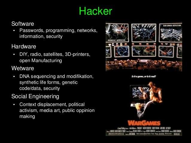 Hacker Software ● Passwords,programming,networks, information,security Hardware ● DIY,radio,satellites,3Dprint...