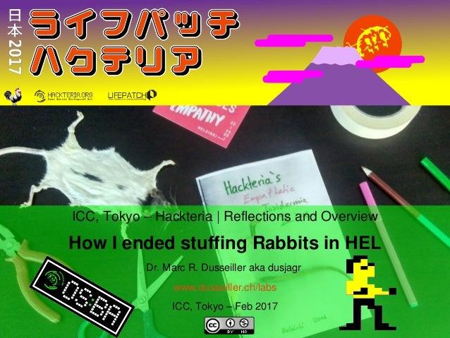 ICC,Tokyo–Hackteria ReflectionsandOverview HowIendedstuffingRabbitsinHEL Dr.MarcR.Dusseillerakadusja...