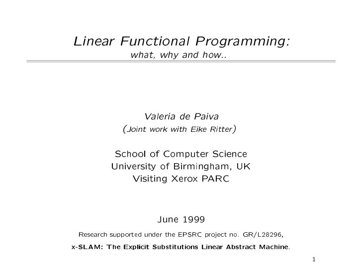 Linear Functional Programming