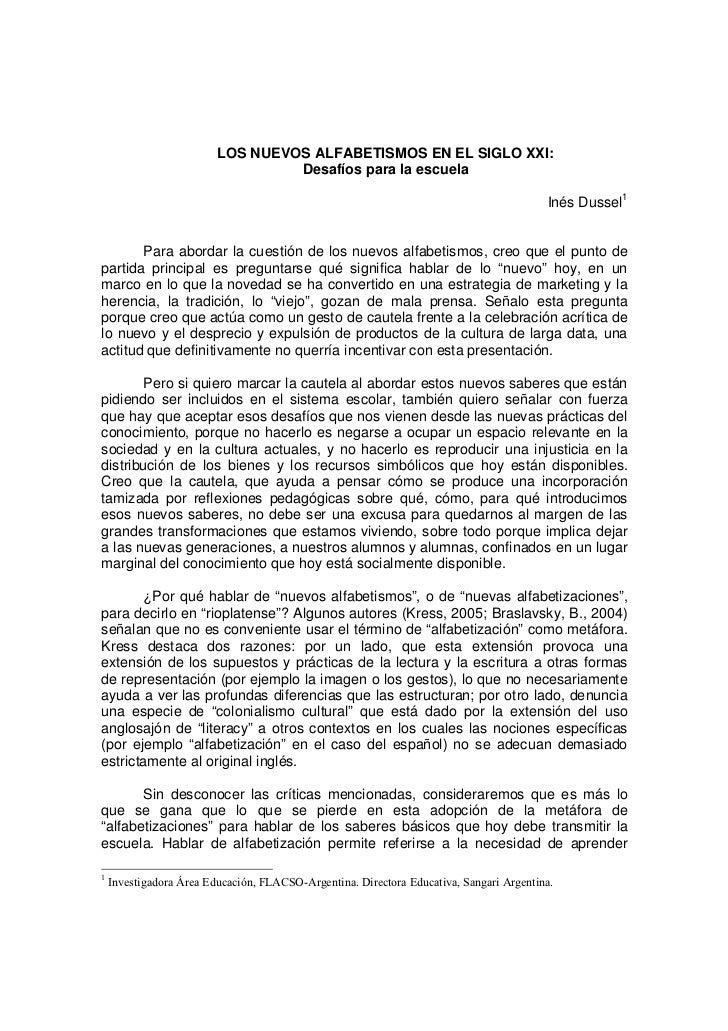 LOS NUEVOS ALFABETISMOS EN EL SIGLO XXI:                                  Desafíos para la escuela                        ...