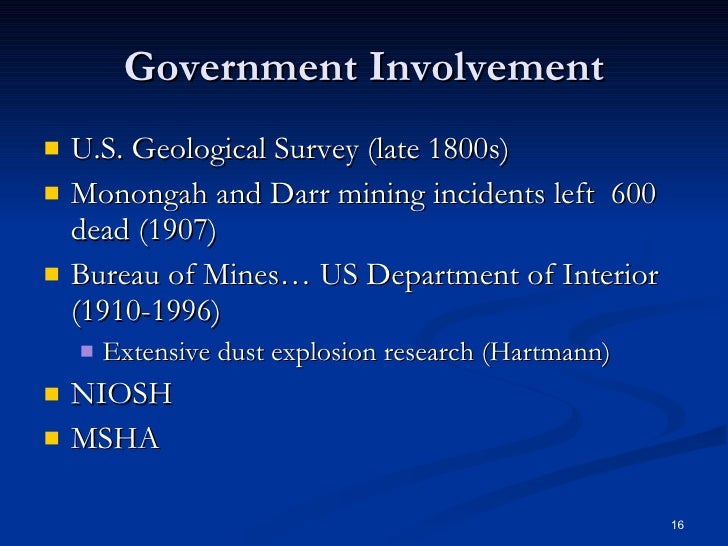 Dust explosion prevention - Geological survey and mines bureau ...