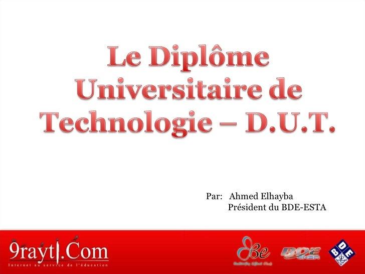 Par:  Ahmed Elhayba  Président du BDE-ESTA