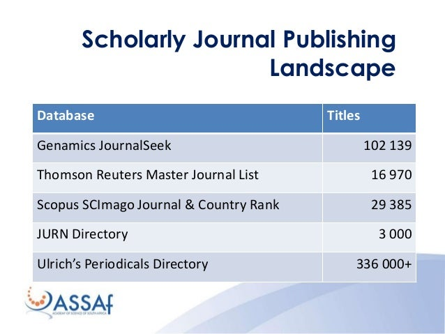 scholarly journal publishing in south africa Journal impact  the percentage of total citations occurring in the first two years  after publication varies highly amongst  h-index, based on google scholar.