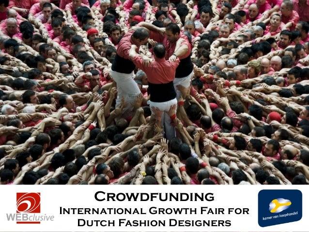 Crowdfunding International Growth Fair for Dutch Fashion Designers