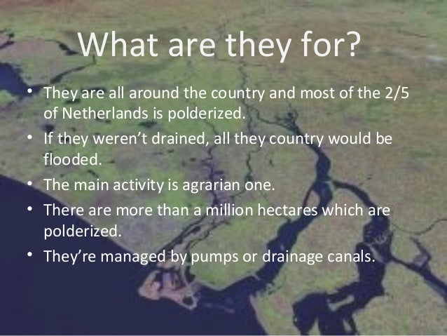 What are they for?• They are all around the country and most of the 2/5  of Netherlands is polderized.• If they weren't dr...