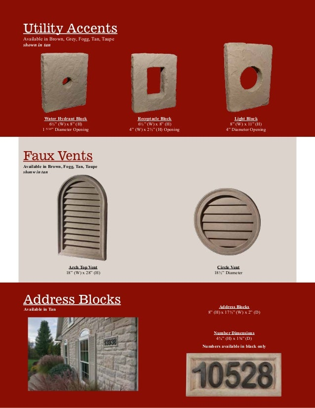 """Faux Vents Utility Accents Available in Brown, Grey, Fogg, Tan, Taupe shown in tan Address Blocks Light Block 8"""" (W) x 11""""..."""