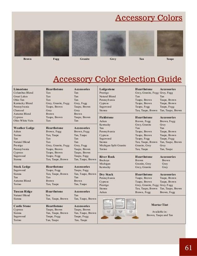 Accessory Colors Accessory Color Selection Guide Ledgestone HearthstoneAccessories Prestige Grey, Granite, Fogg Grey, ...