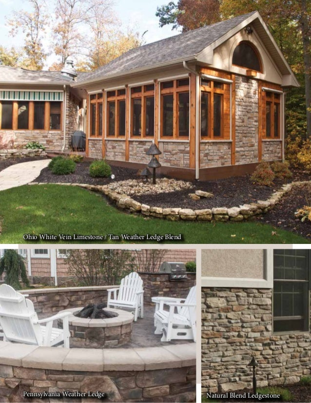 Ohio White Vein Limestone / Tan Weather Ledge Blend Pennsylvania Weather Ledge Natural Blend Ledgestone