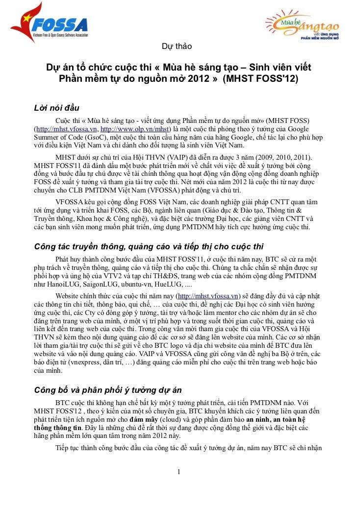Dự thảo    Dự án tổ chức cuộc thi « Mùa hè sáng tạo – Sinh viên viết      Phần mềm tự do nguồn mở 2012 » (MHST FOSS12)Lời ...