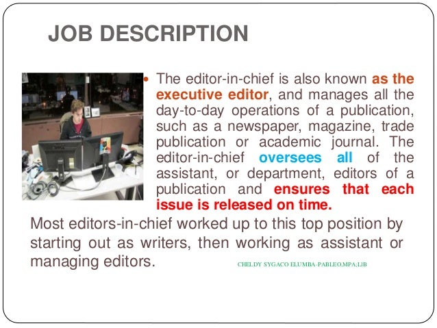 Duties and responsibilities – Managing Editor Job Description