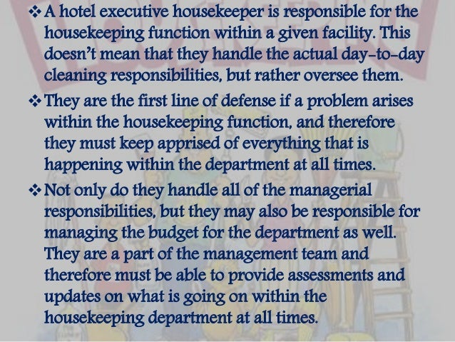Duties U0026 Responsibilities Of An Executive Housekeeper; 5.