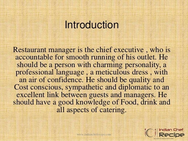 duties and responsibilities of a restaurant manager 1wwwindianchefrecipecom 2