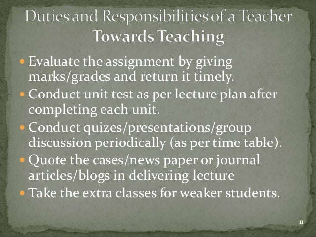 roles and responsibilities of a teacher tutor Nature of teaching duties 17 duties in classroom instruction 17 preparation  presentation evaluation of students duties as a staff member 18 records and .