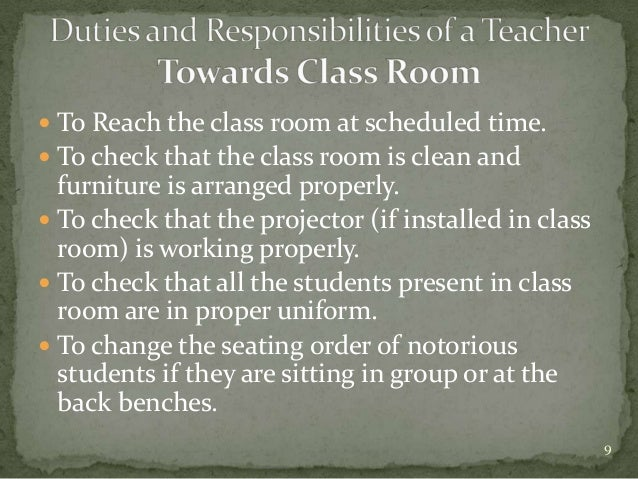 the role and responsibilities of a teacher Lowe i 2009 wwwscientificlanguagecom/esp/classroom-managementpdf the role of the teacher and classroom management-3-what was the.