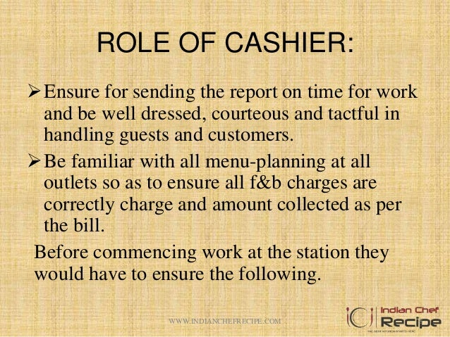 Lovely ROLE OF CASHIER: ...