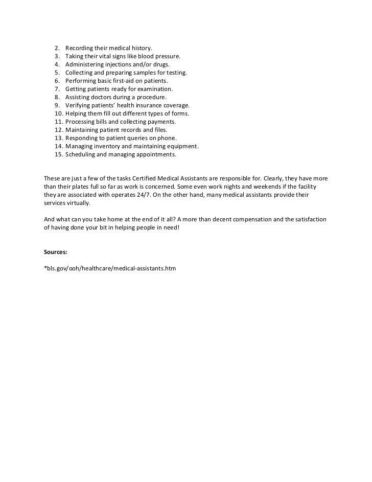 medical assistant task list