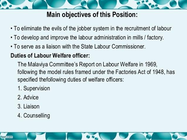 Duties of labour welfare officer Slide 3