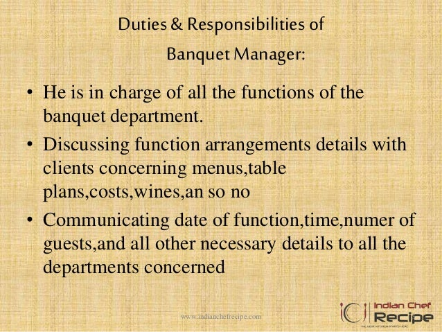 duties responsibilitiesof banquet manager - Banquet Manager Job Description