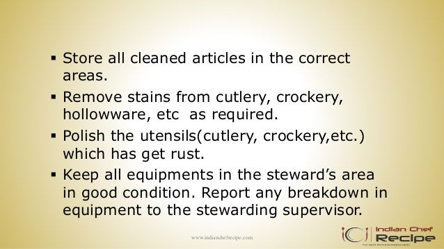 Duties And Responsible Of Kitchen Stewarding
