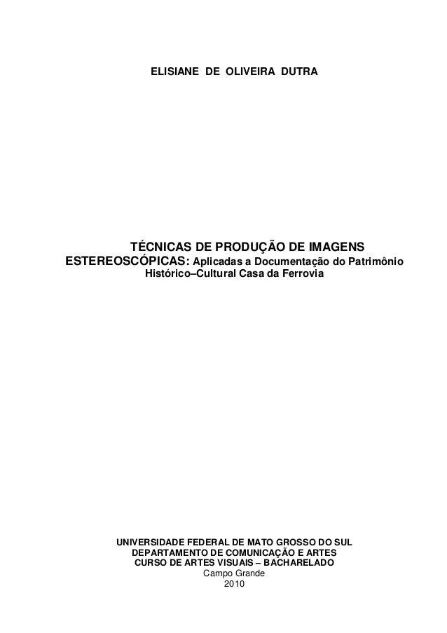 ELISIANE DE OLIVEIRA DUTRA TÉCNICAS DE PRODUÇÃO DE IMAGENS ESTEREOSCÓPICAS: Aplicadas a Documentação do Patrimônio Históri...