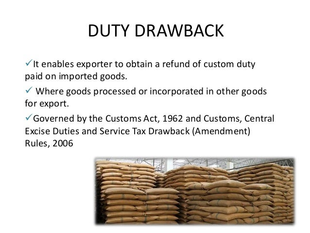 Duty drawback claim procedures